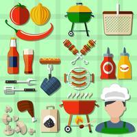 Set di icone di barbecue vettore