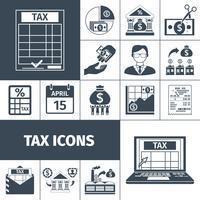 Insieme dell'icona piana di tasse e tasse vettore
