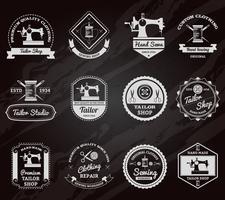Insieme delle icone delle etichette della lavagna del negozio del sarto