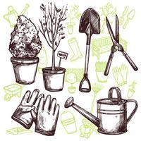 Concetto di schizzo di strumenti di giardino