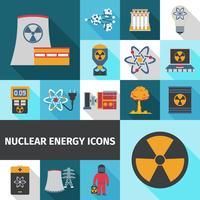 Icone di energia nucleare impostate piatte vettore