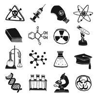 Set di icone di chimica di laboratorio in bianco e nero vettore