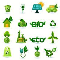 Set di icone di ecologia verde vettore