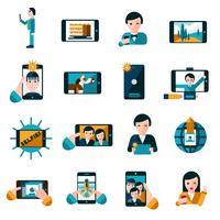 Set di icone foto mobile vettore