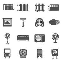 Set di icone di riscaldamento e raffreddamento