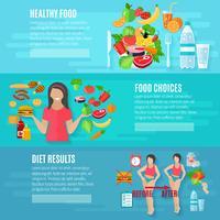 Set di banner piatto dieta allentata di peso vettore