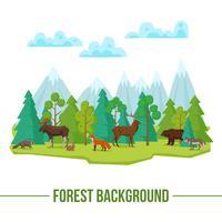 Sfondo di animali della foresta vettore