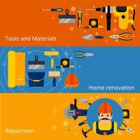 Home riparazioni e banner di ristrutturazione vettore