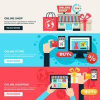 Set di banner piatto di Internet Shopping vettore