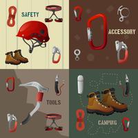 Banner di icone 4 piatto concetto di arrampicata vettore