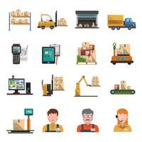 Icone di magazzino piatte vettore