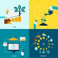 Set di icone decorativo piatto di investimento