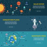 Set di banner piatti del sistema solare vettore