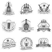 Set di etichette di alcol