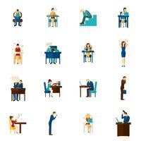 Set di icone piatto di persone di frustrazione