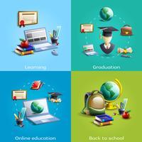 Set di icone di educazione e apprendimento