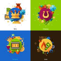 Set di icone di concetto di slot machine vettore