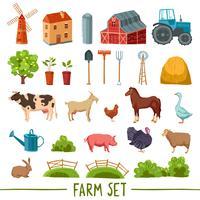 Set di icone multicolore di fattoria