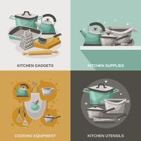 Set di icone di attrezzature da cucina