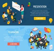 Set di banner isometriche interattive persone di affari