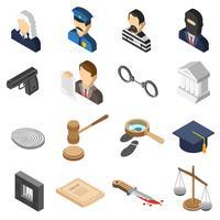 Set di icone di colore isometrica della giustizia vettore