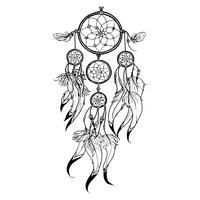 illustrazione di dreamcatcher di doodle vettore