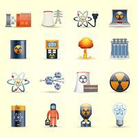 Fondo giallo delle icone di energia nucleare