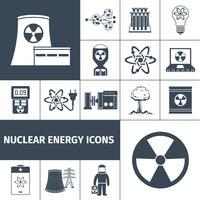 Le icone di energia nucleare sono nere vettore