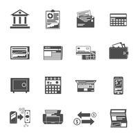 Insieme nero delle icone di attività bancarie