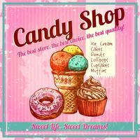 Manifesto del negozio di caramelle vintage vettore