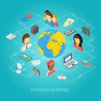 Concetto di Internet isometrica vettore