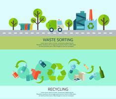 Set di banner di ordinamento dei rifiuti vettore