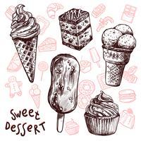 Insieme di schizzo di gelato e torte