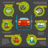 infografica meccanico auto vettore