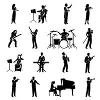 Musicisti icone nere vettore