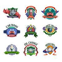 Emblemi di servizio meccanico auto impostato vettore