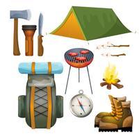 Turismo escursioni campeggio raccolta pittogrammi piatta vettore