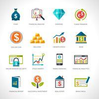 Set di icone di analisi finanziaria vettore
