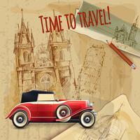Poster da viaggio per auto da viaggio in Europa vettore