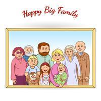 Ritratto di famiglia felice incorniciato vettore