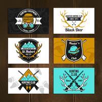Set di carte da caccia colorate vettore