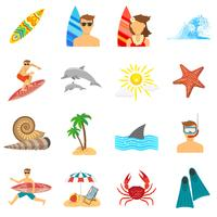 Set piatto di icone di surf vettore