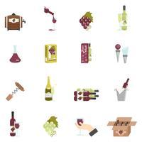 Icona del vino piatta vettore