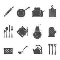 Icone nere degli accessori degli strumenti della cucina messe