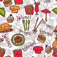 Schizzo di doodle del modello senza cuciture di simboli del ristorante