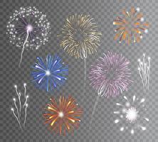 Fuochi d'artificio Set Trasparente vettore