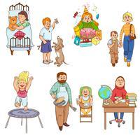 Genitori con la raccolta delle icone del fumetto dei bambini vettore