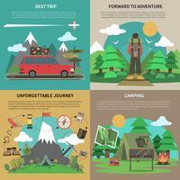 Escursionismo banner 4 icone piane quadrate
