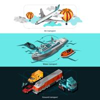 Trasporto Low Poly Banners vettore