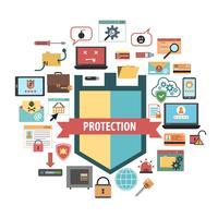 Composizione nelle icone di concetto di sicurezza di protezione del computer